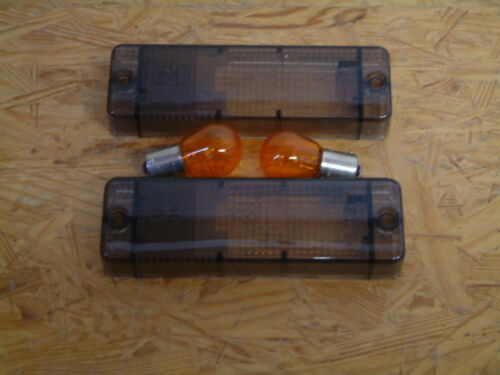Schwarze Blinkergläser+Birnen passend für Golf1Cabrio Spoilerstoßstange ab Bj88