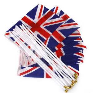 UNION-JACK-SMALL-HAND-WAVING-FLAG-budget-pack-of-12-FLAGS-BRITAIN-BRITISH