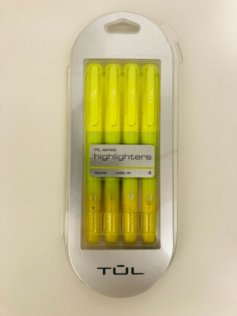 Brand New TUL Highlighter Chisel Tip Fluorescent 4 Pack Yellow 9399155 Free Ship