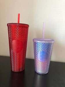 2020 China Starbucks Aurora 16oz Blue//Pink Grande Studded Tumbler STRAW CUP