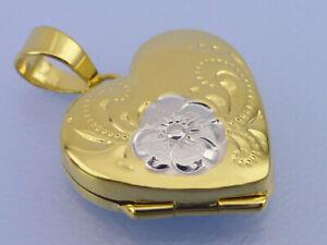 Echt-9Kt-375er-Gold-Weiss-amp-Gelbgold-Anhaenger-Medaillon-Herz-Blume-Hoehe-20-mm