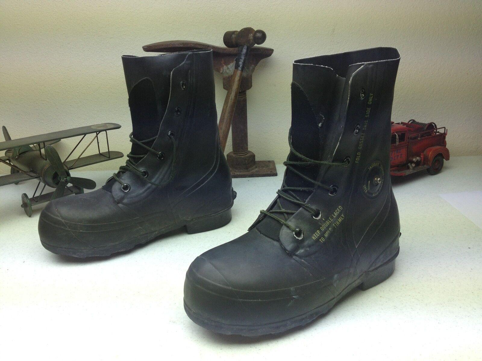 Vintage 1976 Negro Envejecido fuertes lluvias trabajo botas R