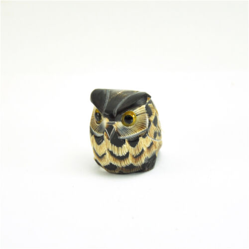 Vtg Cute Chubby fat Owl figurine statue hand carved sculpture scrimshaw handmade