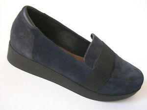 Donald-J-Pliner-Blue-Suede-Wedge-Loafers-Slip-Ons-Womens-6-5M-with-Dust-Bag
