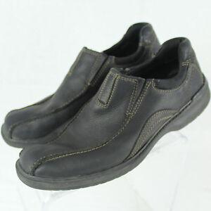 clarks black leather slipon casual shoes men sz us 10 d m
