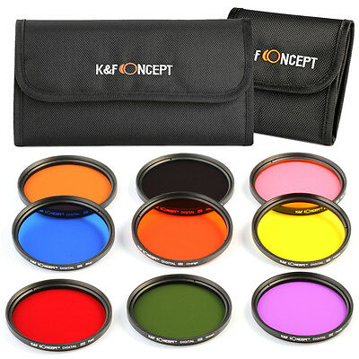 NEW 9-Piece 58mm Full Color FLD Lens Filter Kit For Canon Nikon Sigma Tamron