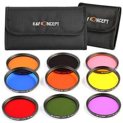 9-Piece 67mm Full Color FLD Lens Filter Kit For Nikon D7000 D5100 D90 18-105mm