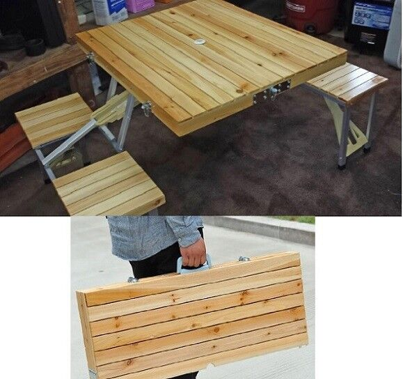 Portable Folding Camping Suitcase Picnic Table 4 Seat Wooden Light Outdoor