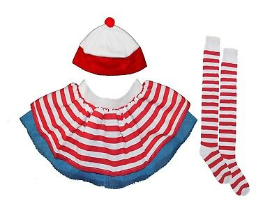 Red White Tutu Striped Nerd Wally 80s Fancy Dress Hen Party Geek Hat Socks Run