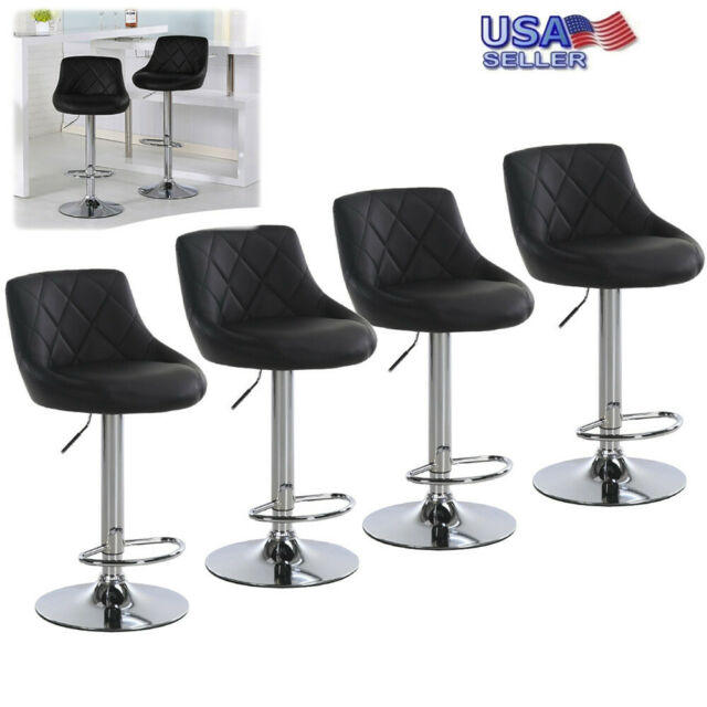 Groovy Set Of 4 Bar Stools Leather Adjustable Pub Chair Swivel Dining Lounge Counter Us Beatyapartments Chair Design Images Beatyapartmentscom