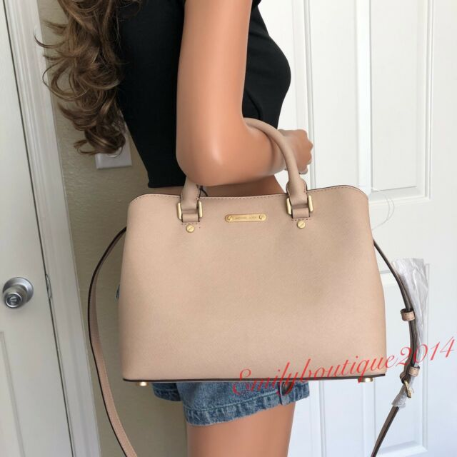 0cddbef046e4 NWT MICHAEL KORS SAVANNAH BLUSH LEATHER MEDIUM SATCHEL TOTE SHOULDER BAG  PURSE