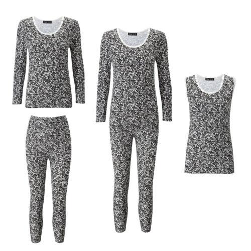 Ladies Lace Print Thermal Cotton Vest Ski Wear Black//White