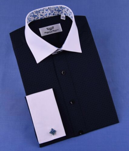 Blue Floral Formal Business Dress Shirt Spread White Contrast Collar Button Cuff
