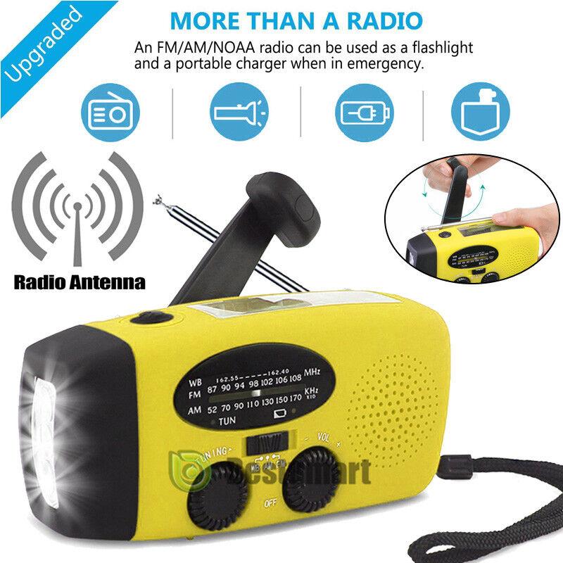 Emergency Dynamo Solar Hand Crank Dynamo Emergency AM/FM/NOAA Weather Radio LED Flashlight Gelb ade18e