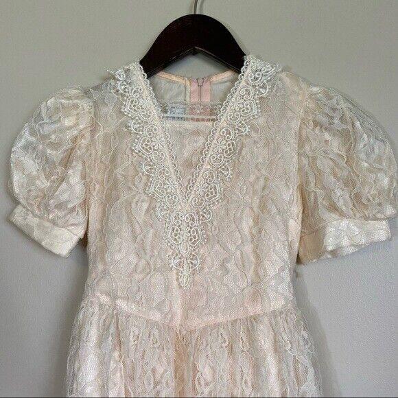 Gunne Sax girls lace dress cream shortsleeved - image 9
