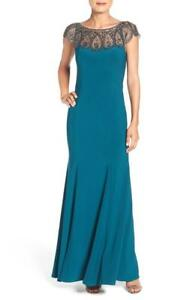 d0b572f7 Image is loading Xscape-Embellished-Illusion-Jersey-Gown-Size-16-F-