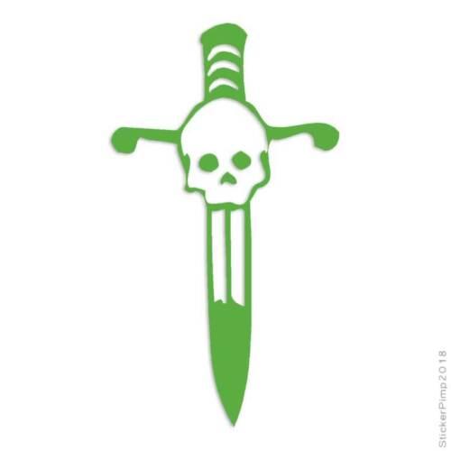 Size #999 Skull Dagger Decal Sticker Choose Color