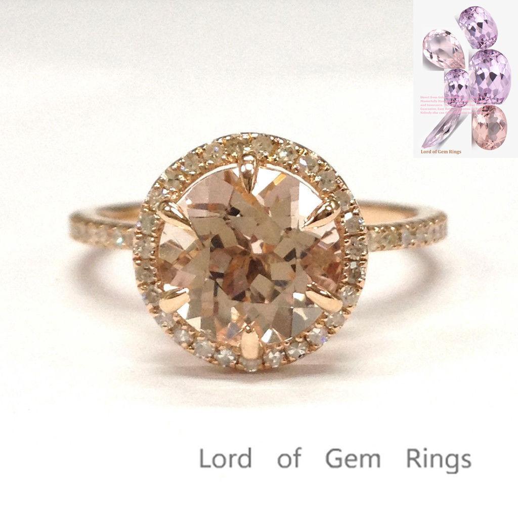 8mm Round Cut Morganite Wedding Pave Diamonds Ring 6 Prongs 14K pink gold