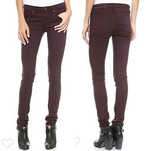 Rag & Bone Women's Size 28 Burgundy Wine Skinny Jeans Cotton Blend Pants YH28