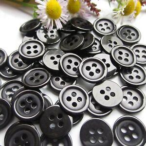 20-Bouton-rond-11mm-4-trou-noir-Scrapbooking-Mercerie-couture-art-decoratif