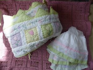 Pottery Barn Madeline Quilted Crib Bumper Pad And Skirt