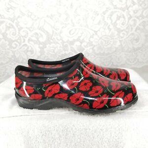 B61-Used-lightly-Sloggers-Women-SZ-10-Black-W-Red-Flowers