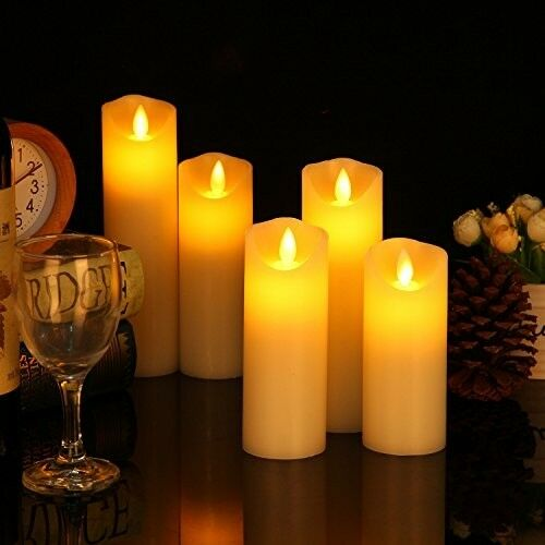 Flameless Candles Set Of 5 Pillar Ivory Flickering Flame LED Timer Remote Wax