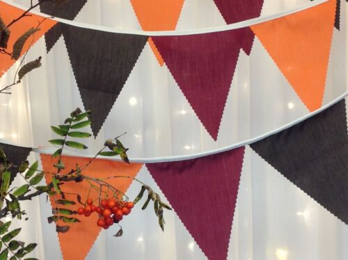 Rich Autumnal Bunting weddings wine brown orange attached to  natural tape