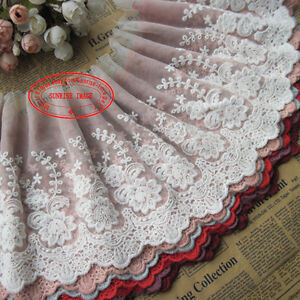 22cm-1yard-Delicate-embroidered-flower-tulle-lace-trim-Sewing-DIY-Crafts-FL149