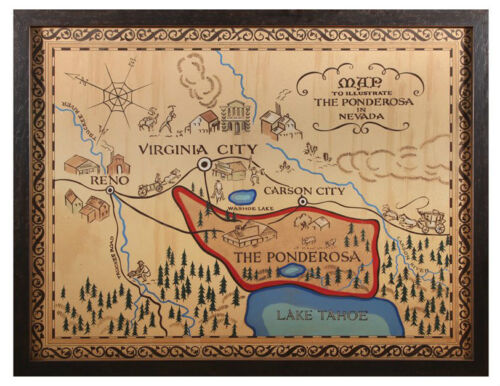 "PONDEROSA MAP POSTER PRINT MATT FINISH.....FREE SHIPPING 5.5/"" X 7/"" BONANZA"