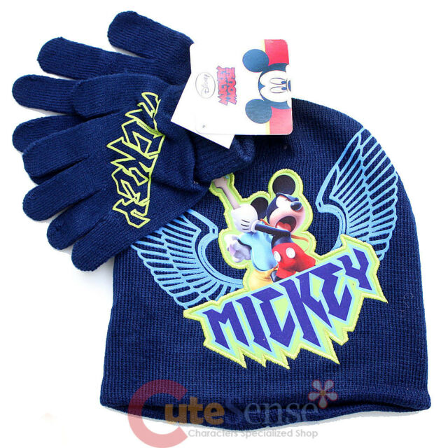 c163fa3763e35 Disney Mickey Mouse Boys Navy Knitted Beanie and Glove Set for Winter