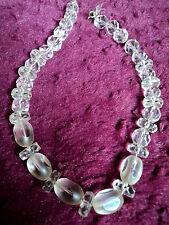 Art Deco mano cristal facetado Collar incluyendo Raro Lente Corte cuentas restring