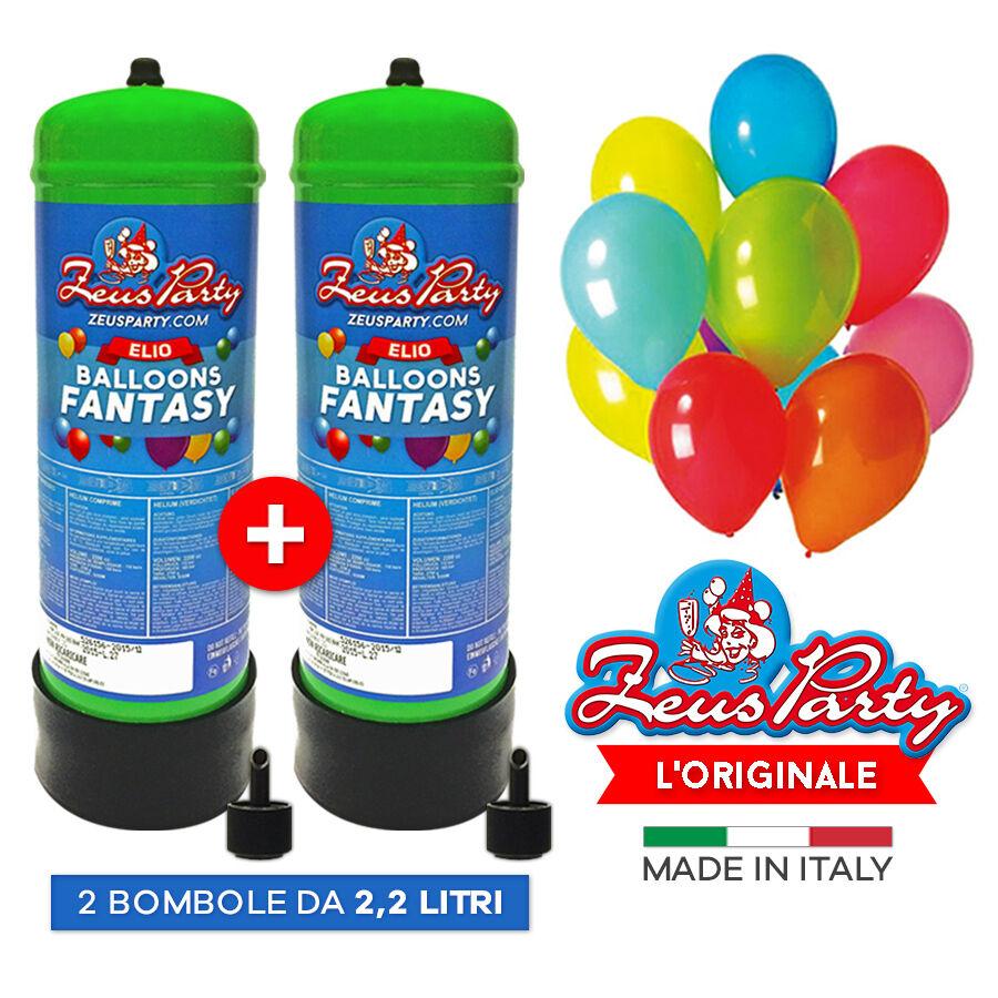 2 bombole ELIO GAS 2,2 lt PER 60 70 palloncini FESTE COMPLEANNI MATRIMONI