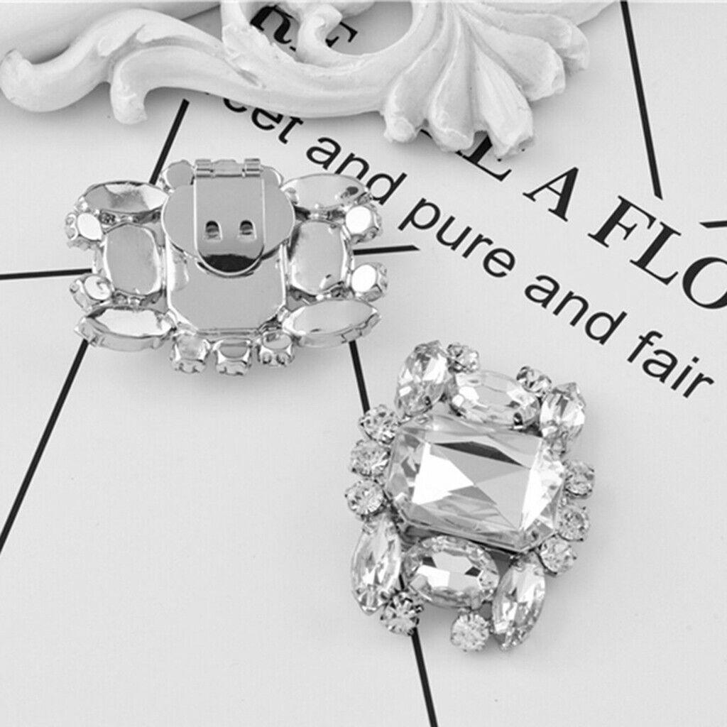 2 Pack Fashion Rhinestone Shoes Shoe Decoration Charms Flowers Crystals Wedding