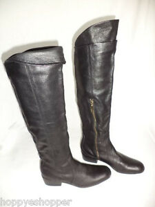 Matiko-Over-the-Knee-Black-Leather-Boots-Low-Heel-Side-Zip-Womens-6-Mint-Upper