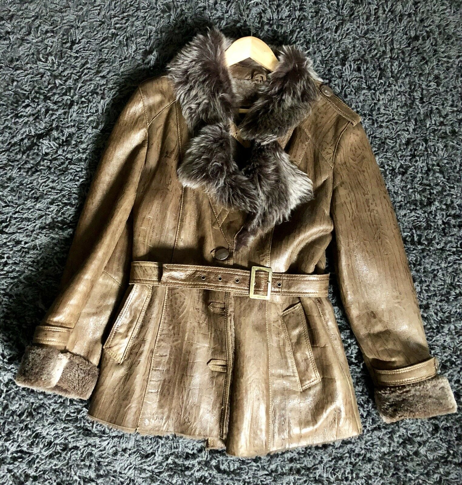 Brown Real Sheepskin Coat, Mid-hip Length
