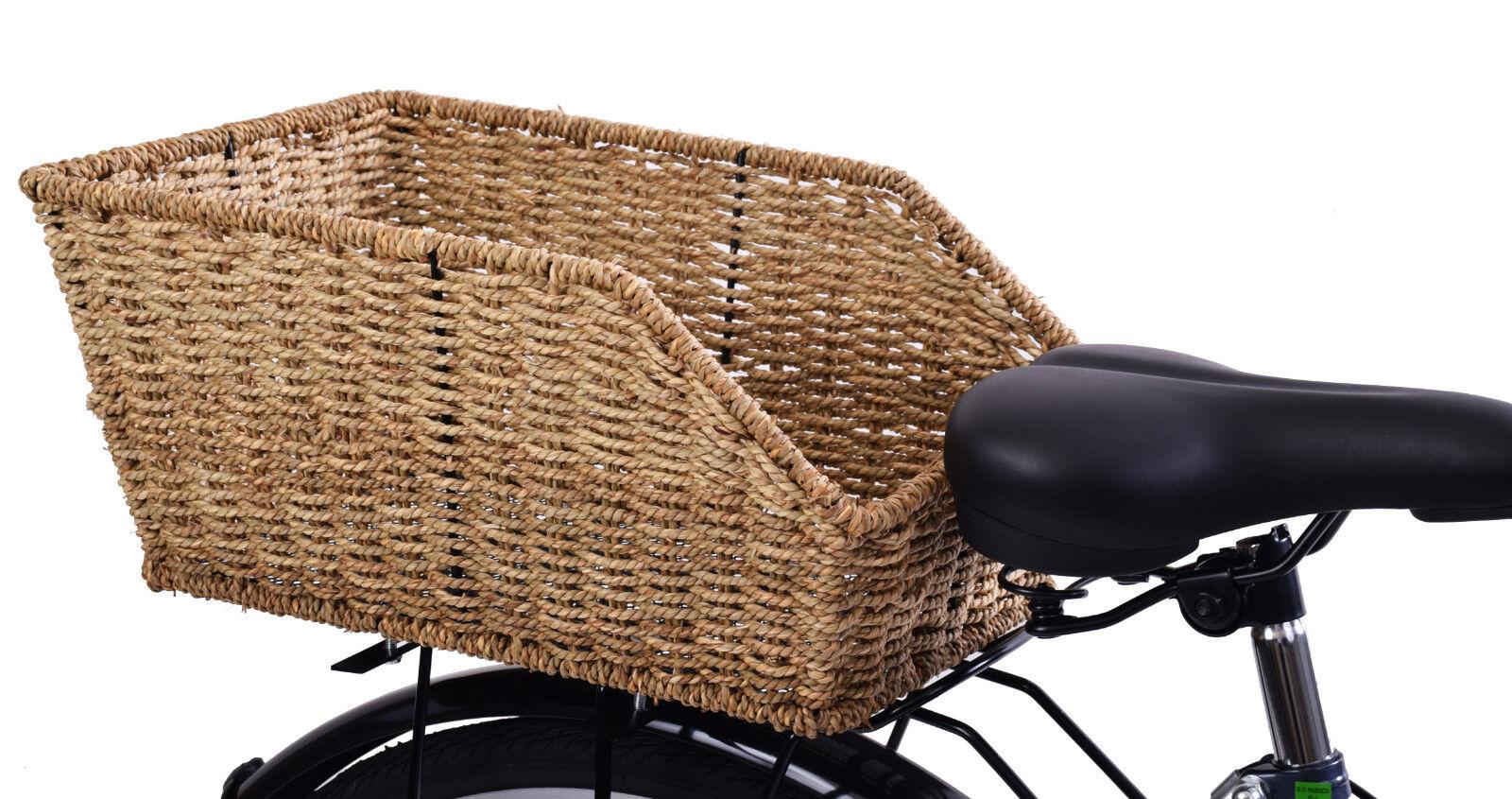 Belle Vélo en osier style Vélo Belle Panier Arrière Fixe Mont Transporteur Fit 44 x 31 x 20 cm 6e606e