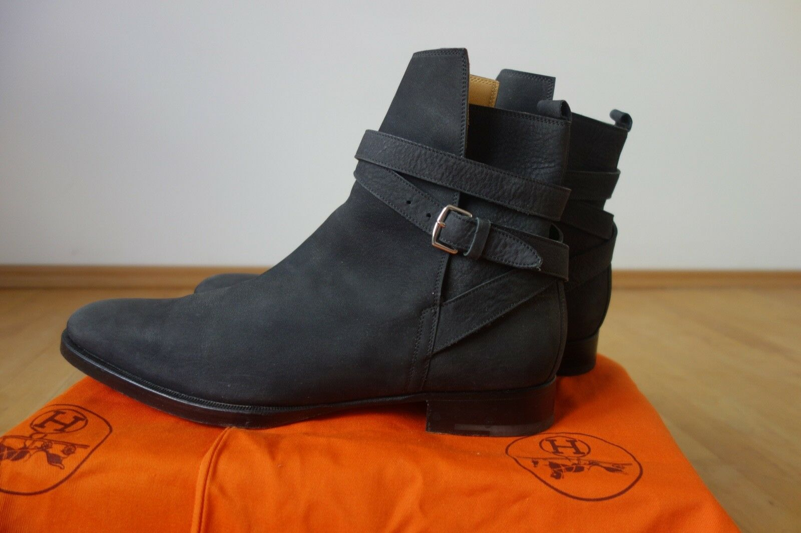 Authentic luxury Hermes negro Nubuck botas-John Lobb Jodhpur