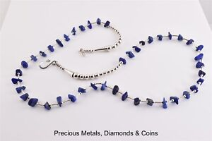 Sterling-Silver-Lapis-Accented-Beaded-Southwestern-Necklace-Chain-24-034