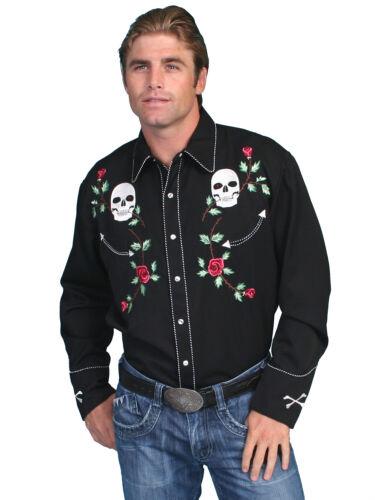 1950s Mens Shirts   Retro Bowling Shirts, Vintage Hawaiian Shirts   Scully Western Mens Black Polyester L/S Skull Roses Western Shirt $87.99 AT vintagedancer.com