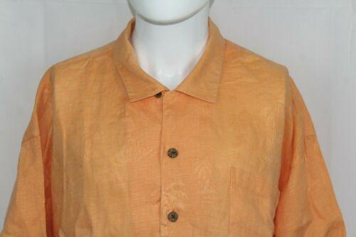 TOMMY BAHAMA 3XL Orange Linen Short Sleeve Hawaiia