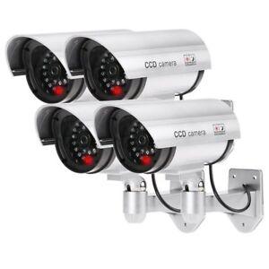 4-Cameras-Factice-Faux-sans-Fil-Impermeable-Systeme-de-Surveillance-Lumiere-LED