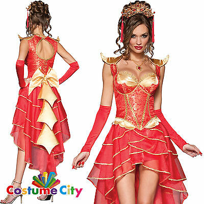 Adult Womens Red Deluxe Chinese Dragon Lady Halloween Fancy Dress Costume