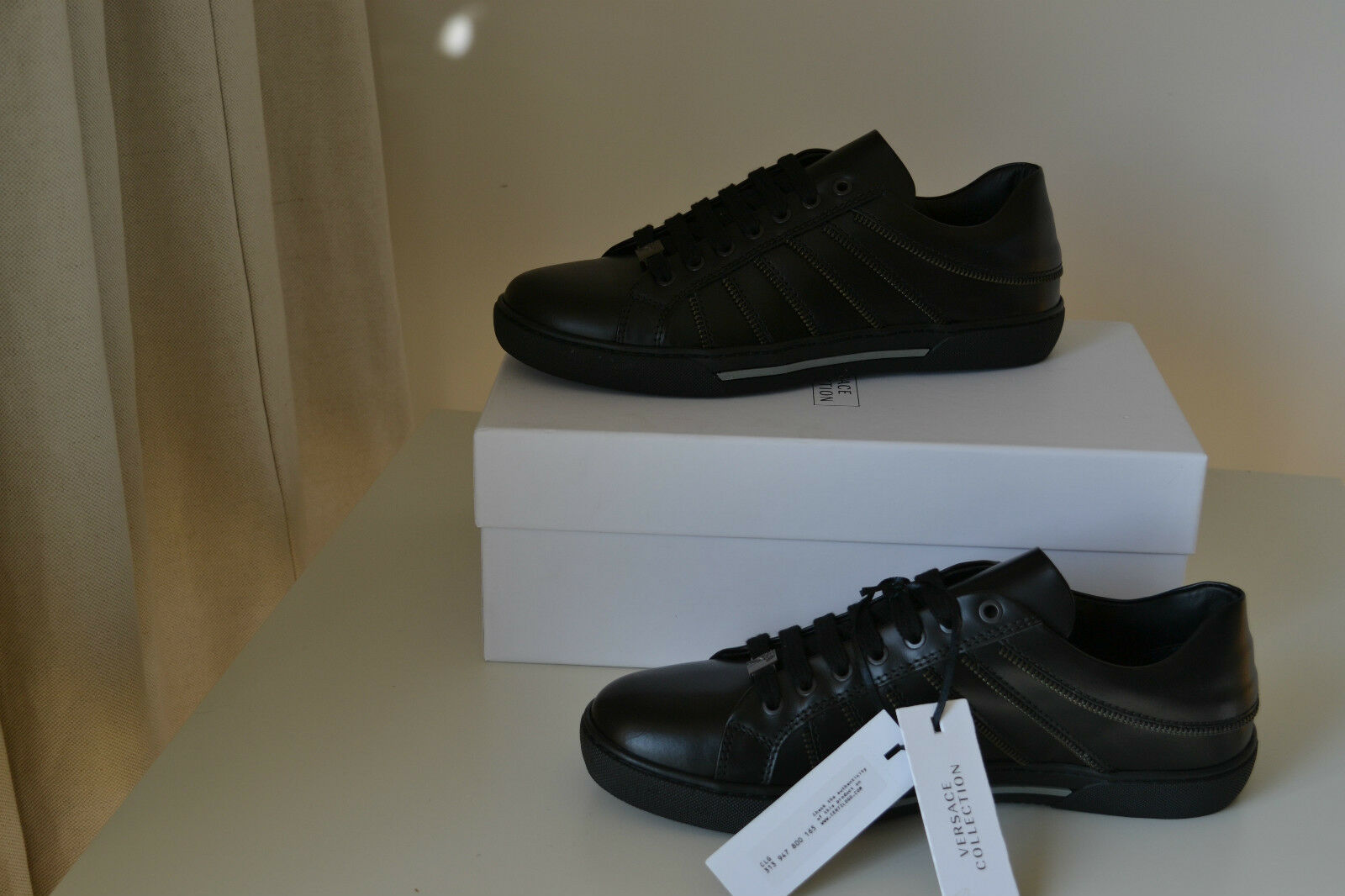 NEW VERSACE BLACK COLLECTION BLACK VERSACE LEATHER ZIP SNEAKER Schuhe SIZE 9 AUTHENTIC c2d7e7
