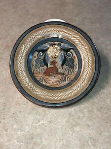 Details about Vintage Ceramic Hand Painted Plate Artist Signed -Tonala  Mexico Folk Art Pottery
