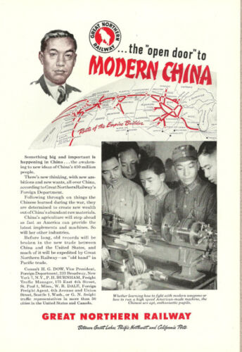 1946 vintage Ad, Great Northern Railway, The Open Door to Modern China 102313