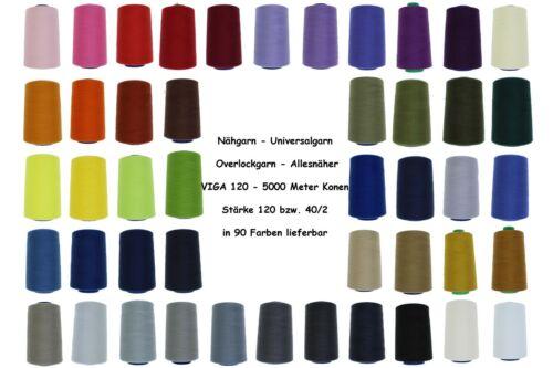 Overlockgarn VIGA 120 Stärke 40//2 Polyester Nähgarn OVERLOCK 5000 Meter//Konen