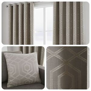 Curtina-CAMBERWELL-Stone-Geometric-Jacquard-Eyelet-Curtain-amp-Cushions