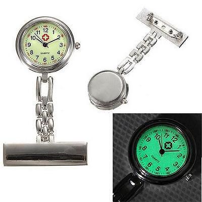 Silver Luminous Dial Nurse Doctor Brooch Clip Quartz Fob Pendant Pocket Watch