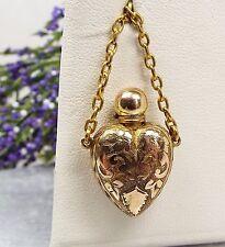 Antiguo Oro 9ct Victoriano grabado Aroma Botella De Perfume En Forma De Corazón Colgante